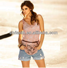 Lace ladies casual summer loose top selling products 2013