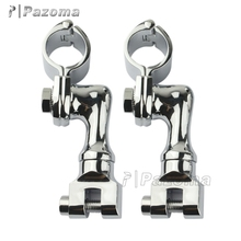 "Newest Pazoma Chrome Offset Highway Foot Peg Mounts With 1"" Magnum Clamps For Harley Davidson"