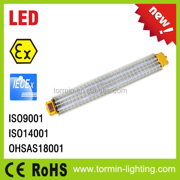 ATEX IECex, CE approved luminaires T8 LED lamp explosion proof tube light, T5 explosion proof fluorescent lighting fixtures