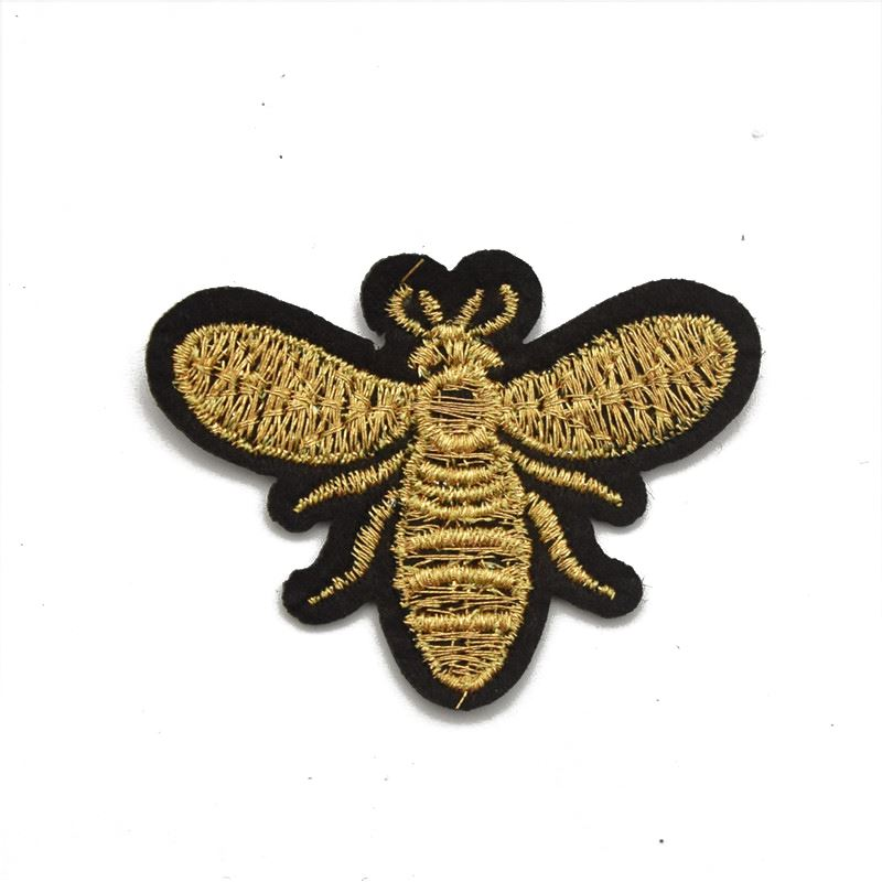 Small GOLD Embroidery Bee Patch Sew Iron On Patch Badge Fabric Applique DIY