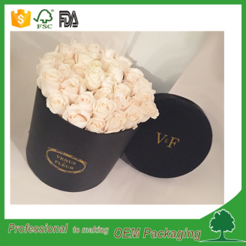 luxury design shenzhen supplier flower hat box black round box with hat lid flower packaging tube