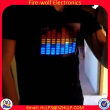 China factory supply low price DJ dance light up el shirt custom music activated led t shirt