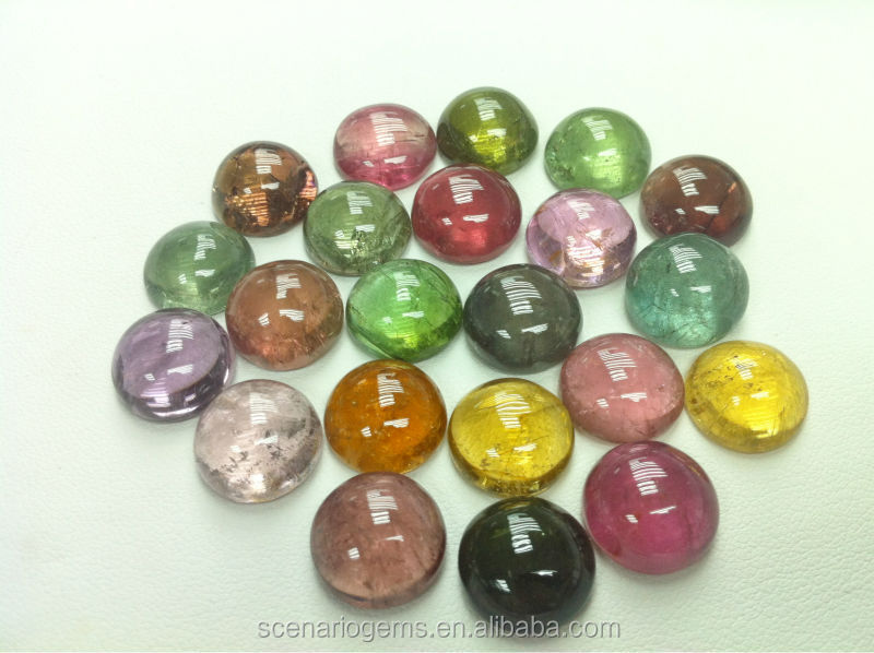 Natural Multi-Color Big Size Calibration Loose Gemstone Cabs Round 12mm Tourmaline Cabochon