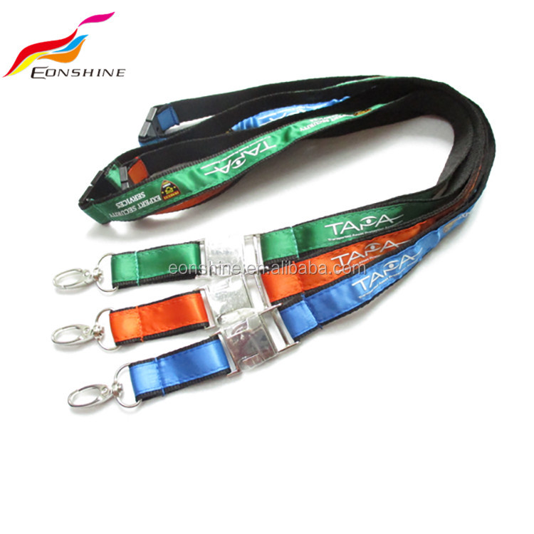 Metal Band Breakaway Satin Nylon Personalized Woven Airline Lanyard With Id Holder Custom Logo