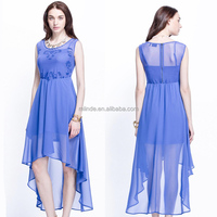 sky blue chiffon lady dress, sleeveless short front long back design, short front long back dress