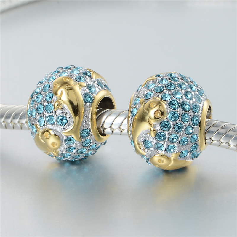 Ocean Theme Gold Plated Blue Rhinestone Beads