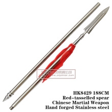 Red-tasselled spear Chinese Martial Weapon Hand forged Stainless steel HK8429