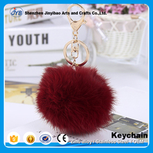popular various colors cheap custom fashion fur keychain for bag ornament