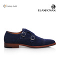 Men Dress Shoes Double Monk-strap Buckle Leather Shoe in Leather Sole