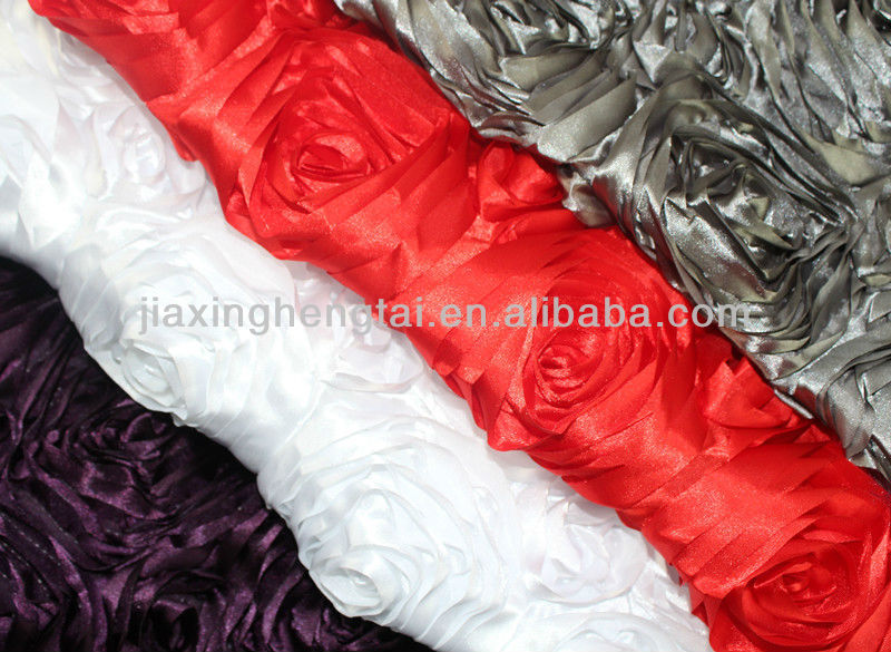 Embroidery design 3D Rose Ribbon Embroidery Fabric,wholesale fabric,Wedding Polyester Satin Embroidery FabricHT-PSEF-02