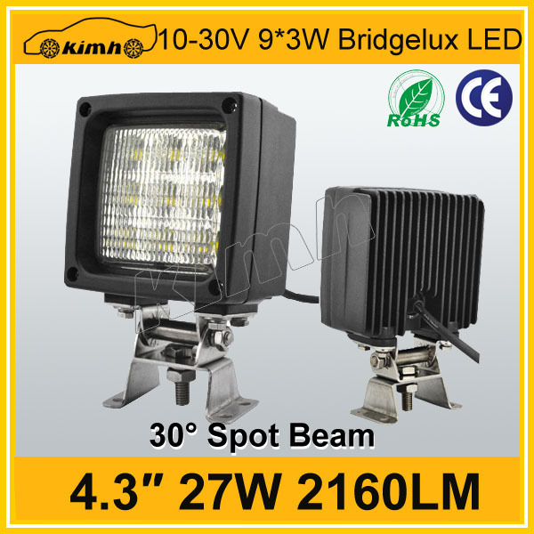 "Hot sales 4.3"" 2160LM square 27w car led working lights"