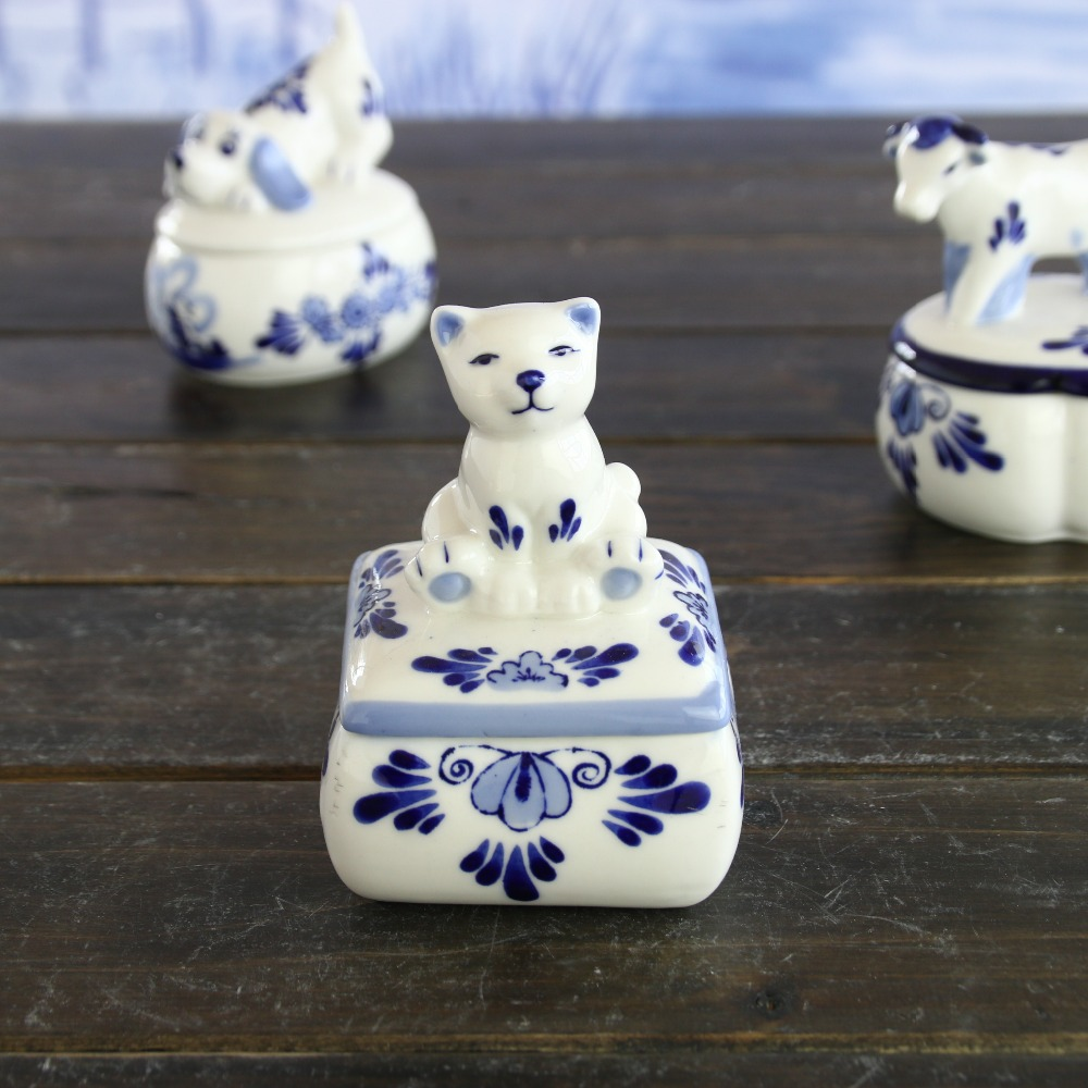Wholesale ceramic animal delfts blue Holland style jewelry box