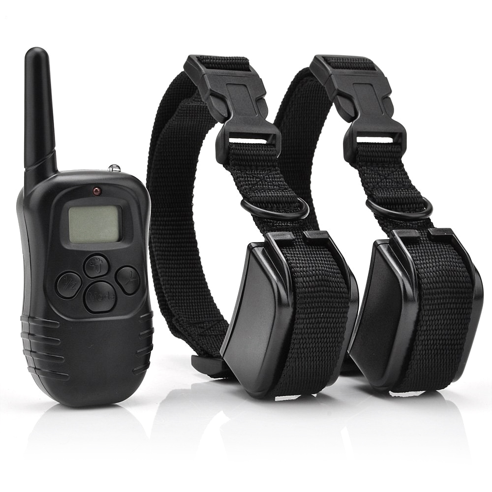 Rechargeable And Waterproof 300 Meters Remote Electric Shock Anti-bark Pet Dog Training Collar With LCD Display 998DR 2dgs