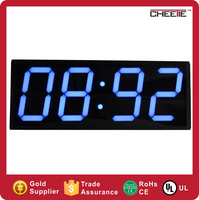 large number multifunctional counter 6 inch 4 digits LED indoor metal led clock