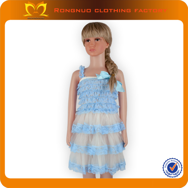 Stylis European Flower Girl Dresses Little Girls Blue Lace Chiffon Maxi Dress Cheap Boutique Clothes for Babies