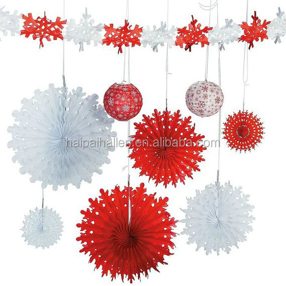 Christmas snowflake paper fans white large winter party for Big snowflakes decorations