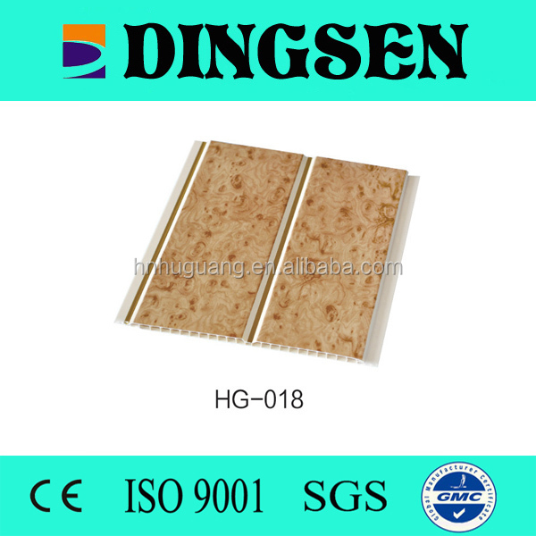 waterproof decorative roof material wood design pvc brown sheet and interior pvc ceiling and partition board