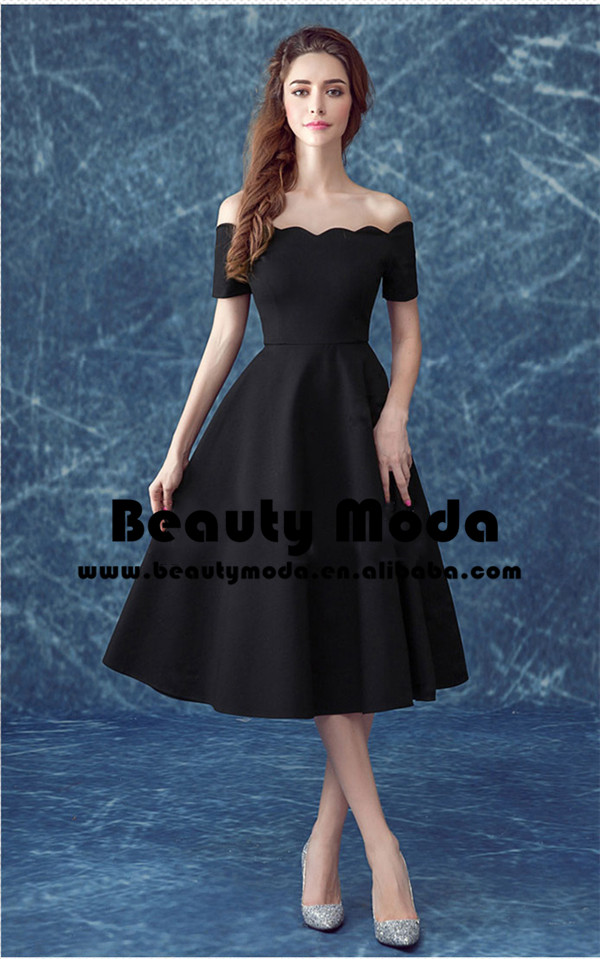 High quality classic style off shoulder ladies long black dress for ladies