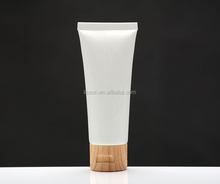 80ml plastic tube with wood grain flip top cap for facial cleanser