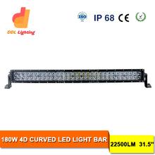 super bright crees 32inch 180w curved 4d led light bar 12volt for 4x4 offroad, trucks