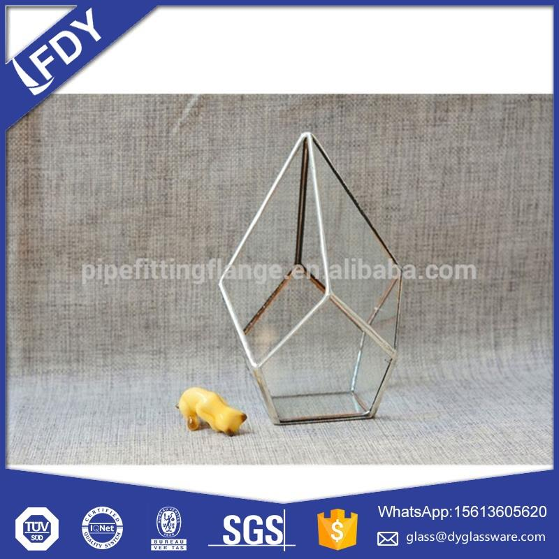 Giant glass terrarium,flower shaped purple colored glass vase,for wedding homedecoration