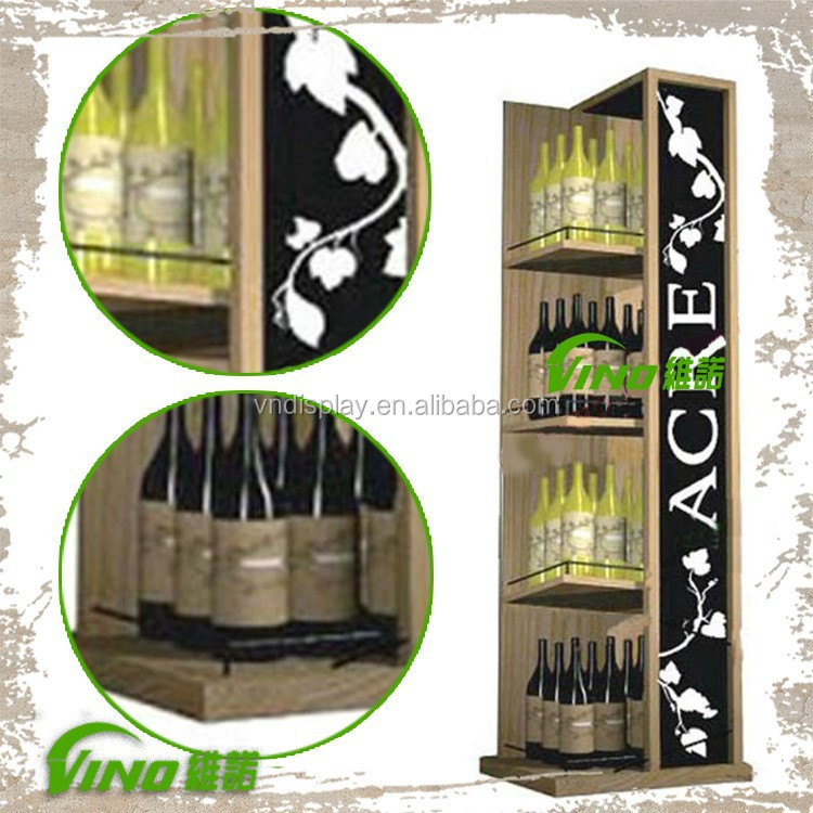 Customize Logo Wooden champagne Wine Bubbly Display Display Rack