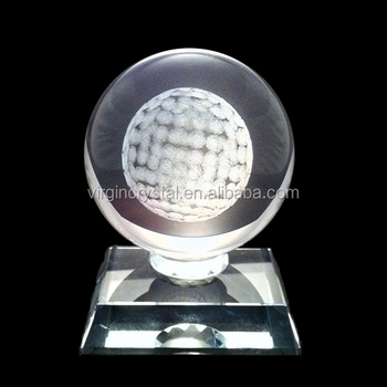 Clear Crystal Sphere With 3D Laser Engraving Golf Ball Inside Design Crystal Glass Golf Trophies
