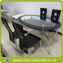Russia Style Detachable Black Color Oval Double Layer Glass Dining Table