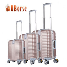Fashion pink abs aluminum hard trolley luggage case, 3 piece luggage set