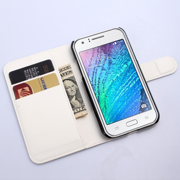 Fashion top sell leather flip cover for samsung for galaxy j1