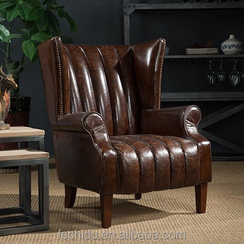 Foshan city furniture manufacturers wingback designs American vintage leather sofa chair