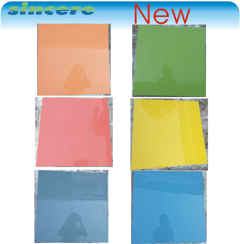New product red orange green yellow blue glazed polished porcelain single color tile