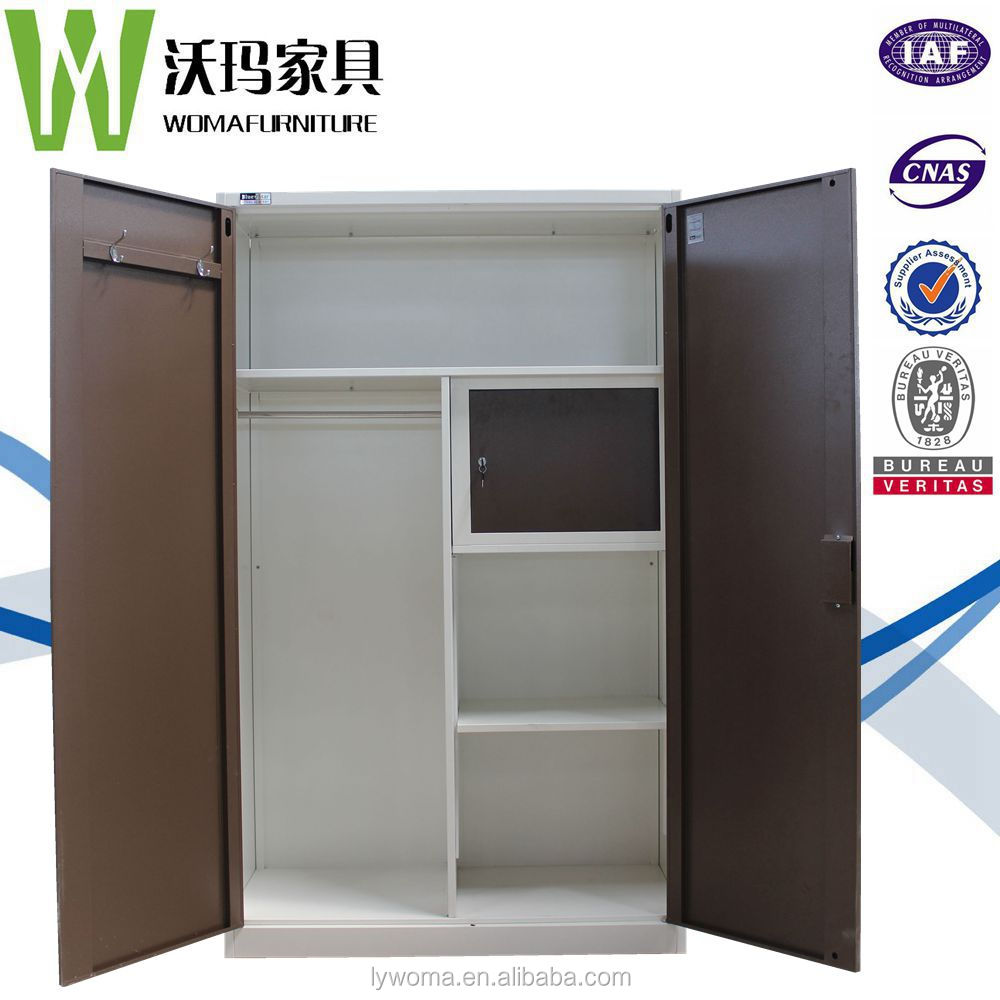 stainless steel wardrobe closet wholesale / metal portable armoire wardrobe / kids bedroom clothes almirah designs with drawer