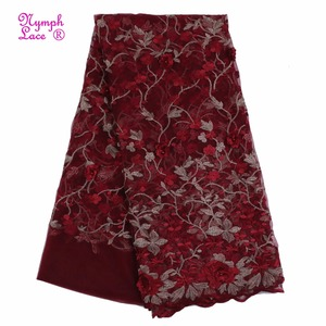New pattern 3D flower african french lace fabrics cord lace for nigerian B370