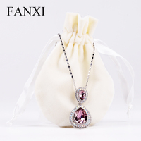 FANXI Hotselling Portable Round Pouch Ribbon Drawstring Shop Ring Earrings Necklace Gift Package Bag Velvet Custom Jewelry Pouch