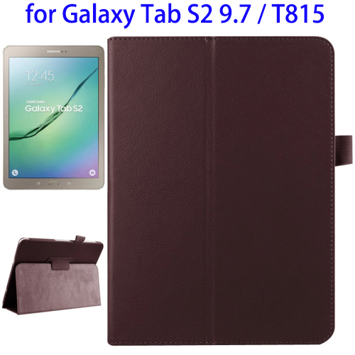 Mobile Accessories Litchi Texture Flip Leather Phone Cases for Samsung Galaxy Tab S2 9.7 / T815 with Two-folding Holder