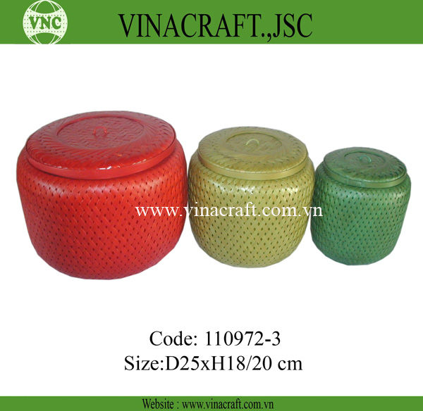 Colorful bamboo food storage container for kitchen