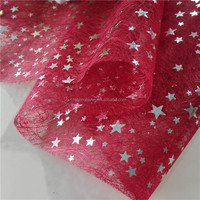 Christmas decor red with sliver stars nonwoven table runner 100% eco friendly MOQ 1700m