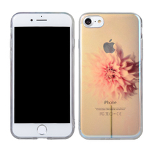 Ultra thin tpu soft cover flower IMD cell phone case for iphone 7