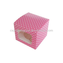 cheap polka dot decorative die cut cupcake cake box,brown cupcake boxes