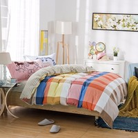 100% Cotton Twill Bedding Set With Colorful Check Quilt Cover
