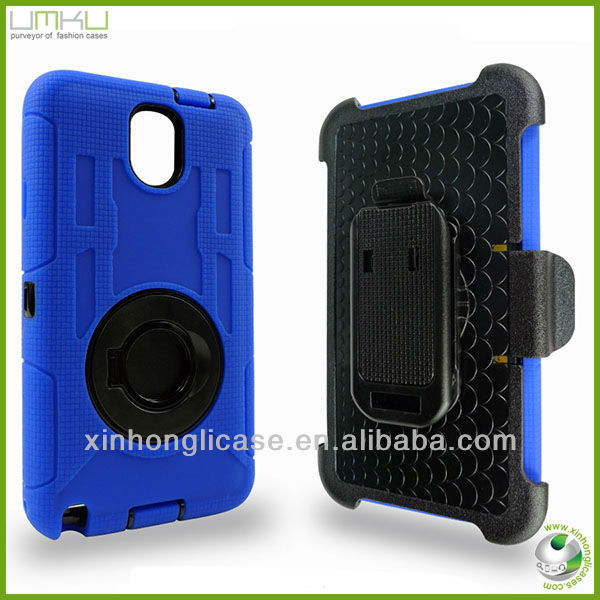 Hybrid rubber rugged silicone belt clip stand case for Samsung N9000 note 3