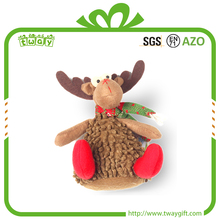 Factory price 7 inch christmas decorative ornaments stuffed cloth doll plush deer santa claus