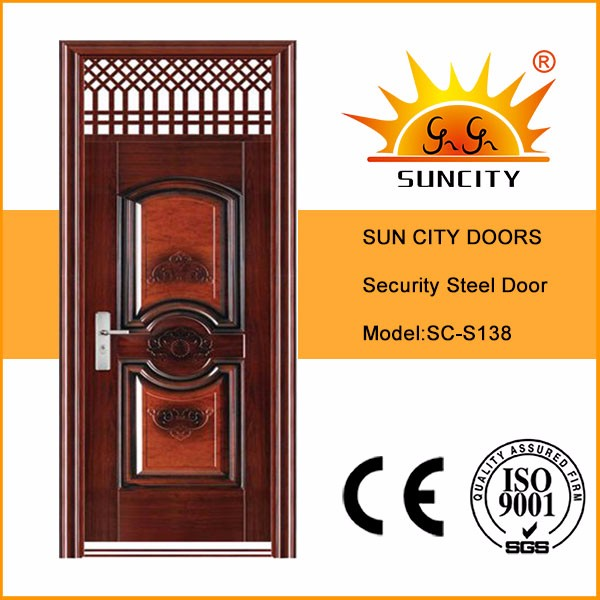SC-S138 Luxury Modern House Stainless Steel Front Door Designs With Grill, American Steel Front Door