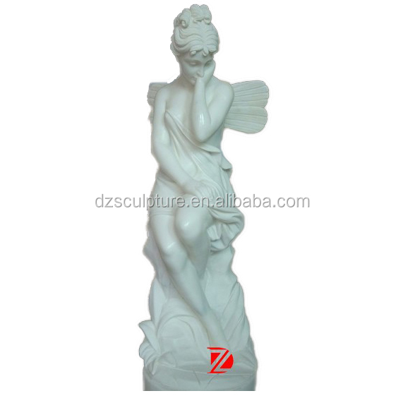 stone butterfly lady statue with wing