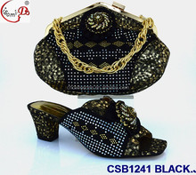 Autumn CSB1241 BLACK flat Heel italian shoes and bag 2016 high Heel Shoes and bag
