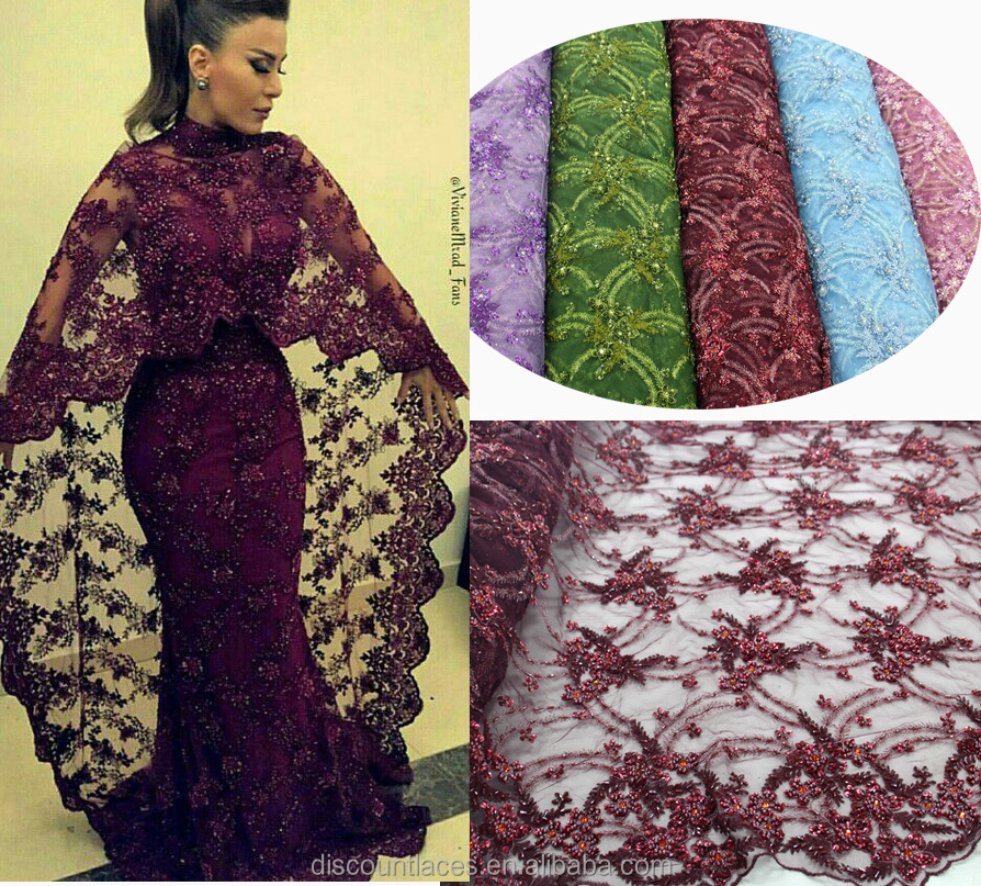 Wholesale embroidery fabric design with handwork beaded