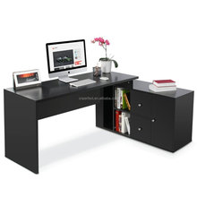 home office work workstation L-shaped laptop cheap wooden computer desk