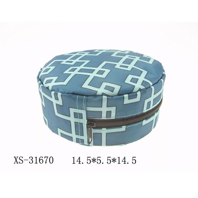 Durable round make up bag adult cosmetic travel bag small blue makeup bag
