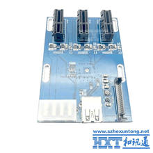 NEW PCIe 1 to 3 PCI express 1X slots Riser Card Mini ITX to external 3 PCI-e slot adapter PCIe Port Multiplier Card